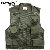 чёрный карманы оптовых-Fall-2015 Fishing Vest Fishing Clothing  Vest Plus Size Photography gilet pesca mosca Black Mesh Vests Multi-pocket Jacket M-3XL