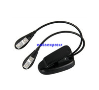 Wholesale Led Dual Book Light - Mini Clip on Reading Book Lights Lamp 2 Dual Arm 4 LED flexible clip Music Stand laptop kindle e book lights night working