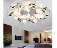 ingrosso le luci del soffitto lasciano-Plafoniera a LED Foglie verdi moderne Plafoniera a sfera in cristallo chiaro Plafoniera in filo di alluminio Lampadario soggiorno luci 10/10/15