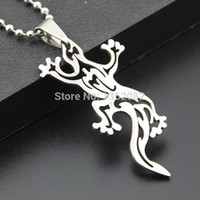 Wholesale Lizard Necklace Jewelry - Fashion Boy Men's Jewelry Silver Tone Stainless Steel Hollow Design Lizard Charm Pendant Necklace Gift MN293