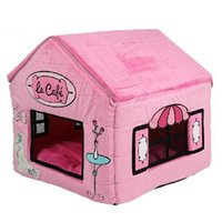 Cafe Pet Dog Cat House letti Kennel cucciolo Tenda di New Princess Pink Poodle Zipper cartella HouseSize L