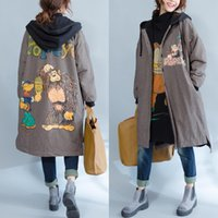 Plus größe frauen frauen kleiden winter trenchcoats hoodie universität college print karton tier fleece dame kausalen junioren jugendlich outwear 26 Watt