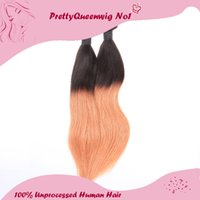 Wholesale Ombre Hair 5a - 2015 Malaysian Three Tone #1B 27 Ombre Color Straight Human Hair A Pack of Four Hair Wefts Hair Extensions Unprocessed Remy Virgin Hair 5A