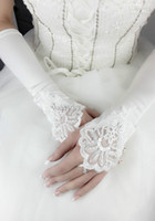 Wholesale white pearl gloves resale online - Fall Cheap Wedding Gloves Fingerless Pearl Lace Satin Cheap Wedding Applique Beads White Bridal Gloves Wedding Accessory