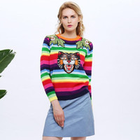 Wholesale Rainbow Stripe Sweater - 2017 Women Sweater Rainbow Stripe Floral Animal Tiger Embroidery Wool Knitted Sweater Women Pullovers Chandail Pull Femme