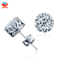 Wholesale Real Diamond Earrings For Women - Shinny 6*6mm Hearts and Arrows CZ Diamond Earrings Real 925 Sterling Silver Jewelry Zircon Stud Earrings for Women and Men ZE021
