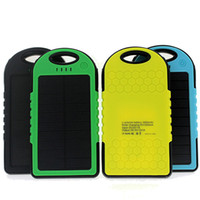 Wholesale External Battery Dual - mobile solar power charger 5000mah solar panel external battery charger dual usb interface water proof solar power bank colorful OTH013