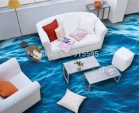 Wholesale Photo Adhesives - Wholesale- Custom Photo Floor Wallpaper 3D Stereoscopic Floor Waves Mural PVC Wallpaper Living Room Bathroom Self-adhesive Floor Wallpaer