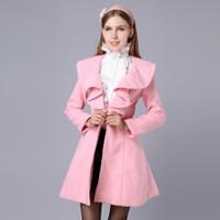 Wholesale Pink Doll Women Coat - Wholesale-Pink Large Doll 2015 New Winter Women'S Coat And Long Sections Woolen Coat Wool Coat Flounced Ladies Coat Plus Size