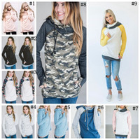 spitzen-sweatshirts großhandel-Frauen Finger Hoodie Digitaldruck Mäntel Reißverschluss Lace Up Langarm Pullover Winter Blusen Outdoor Sweatshirts Outwear 120 stücke OOA3396