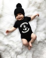 Wholesale Stylish Boys Clothes - Hot Newborn Baby Boys Clothes Kids The Mad Hueys Arrows Printed Infant Jumpsuit Stylish Casual Cotton Black Toddler Clothing Set Wholesale