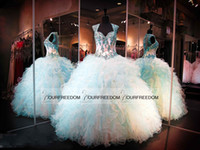 Wholesale turquoise ruffled quinceanera dress - Custom Made Sweetheart 16 Princess Quinceanera Dresses 2016 Corset Ball Gown With Beaded Bodice Turquoise Long Party Prom Gowns