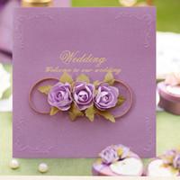einladungsdekoration zubehör großhandel-Rose Hochzeitseinladungskarte Design Free Customized Printing Hochzeitsfeier Dekoration Hochzeitseinladungen Party Event Zubehör