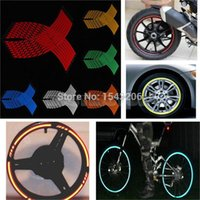 Wholesale wheel reflective tape bike - 16 Strips Wheel Sticker Reflective Rim Stripe Tape Bike Motorcycle Car 16 17 18inch small order no tracking