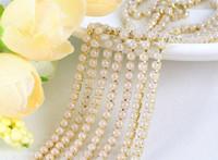 nähen perlen kleid großhandel-Neue 5 Meter 4mm weiße Perle Seting Gold Claw Ribbon Trim Kette Nähen Hochzeitskleid Diy Craft