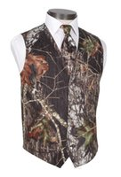 Wholesale solid color silk tie - 2018 New Camo Wedding Vests Groom Vest Tree Trunk Leaves Spring Camouflage Slim Fit Mens Vests 2 piece set (Vest+Tie)