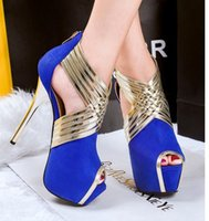 Wholesale Strappy Black Dresses - Luxury Patchwork Blue Gold Strappy Peep Toe Platform Shoes Prom Gown Dress Wedding Shoes Women High Heels 3 Colors size 34 to 39