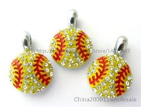 Wholesale Key Chain Bead Fit - 10pcs softball With Rhinestone Hang pendant charms 15x15mm Fit DIY Bracelet Necklace  Key chain Phone strip HC360