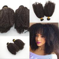 afro onda tecer cabelo humano venda por atacado-Indiano crespo Encaracolado Feixes de cabelo afro onda Weave para as mulheres negras 6 pcs Lot 100% Extensões de Cabelo Humano Virgem 35g / pcs G-EASY cabelo