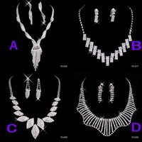 Wholesale Evening Earrings Crystal - Free Shipping Crystal Wedding Jewelry Sets Earrings Necklaces (4 STYLE TO CHOSE) Christmas Prom Evening Bridal Accessories In Stock 2015