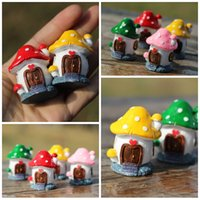 oficina de jardín diy al por mayor-4 Color DIY Mini Mushroom House Tabla Figurines Oficina Bonsai Decoración Poco Macetas Jardín Decoración jardín de Bonsai FreeDHL E433L