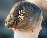 Wholesale Golden Jewellery Designs - Top Design Fashion Golden Alloy leaves Hair Head jewellery Hairpin Gift 3D Leaves Hair Clips Barrettes Side clips Wedding Fresh Hair Jewelry