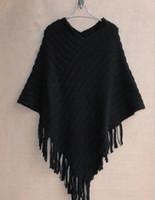 Wholesale Geometric Shawl Cape - Autumn Winter Women Sweaters Fashion Plus Size Blouse Cape Geometric Shawl Cotton Sweater Loose Bat Tassel Poncho Cape Coats