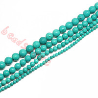 Wholesale Oval Stone Beads - Free ShippingWholesale 4MM 6MM 8MM 10MM Natural Blue Turquoise Stone Beads For Bracelet Necklace DIY Making(F00249)