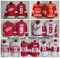 Jerseys Baratos Del Parche Baratos-Mens Throwback Detroit Red Wings # 9 Gordie Howe Hockey Jerseys Inicio Rojo Vintage Winter Classic Rojo Blanco Gordie Howe Cheap Costura C Patch