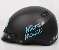 "Wholesale Kk Moto - Wholesale-KK#37 Taiwan ""EVO"" Motorcycle Half Face Snow Casco Motorbike Scooter Moto Matt Black "" Mickey Mouse"" Helmet"