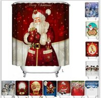 Wholesale modern curtains designs - Christmas Shower Curtain polyester Waterproof Bathroom Santa Digital Printing Shower Curtains Decor for Home 30 design KKA2393