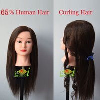 Wholesale Training Hair Dummy - Wholesale Manequin Dummy Training Head 65% Human Hair For Curling Hairstyling Training Mannequin Head With Hair