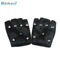 Wholesale Punk Gloves Men - Wholesale- Theatrical Punk Hip-hop PU Leather Half-finger Gloves for Women Girl Round Nail Black Amazing Jl 20
