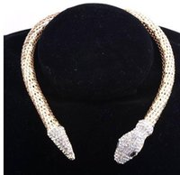Wholesale Chain Designs For Women - 2016 New Design hot sale Fashion Personality Luxury Rhinestone Snake chain necklace choker Statement jewelry for women