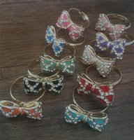 Wholesale Vintage Pave - 20x13mm Mixed color crystal bowknot diy vintage style ring 5pieces lot