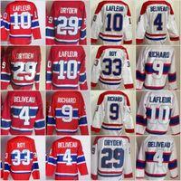 Wholesale Guys Nylon - Throwback Montreal Canadiens Hockey Jersey 4 Jean Beliveau 9 Maur Richard 10 Guy Lafleur 29 Ken Dryden 33 Patrick Roy Vintage Classic Jersey