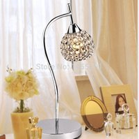 Wholesale Crystal K9 Table Lamp - Wholesale-D250MM*H470MM K9 Crystal Silver Table Lamp Light Creative Table Lamp For Living Room Bedroom Study Bedroom Free Shipping