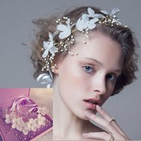 Wholesale Made Crown Flower - Elegant 2015 Bridal Crown Tiaras Wedding Headpieces Hand Made Flowers Bohemia Hair Band Bridal Jewelry Accessories