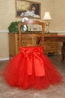 décorations de mariage millésime achat en gros de-En Stock 2017 Satin Tulle Tutu Chaise Couvre Vintage Romantique Chaise Ceintures Belle Mode De Mariage Décorations
