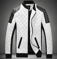 Wholesale White Faux Leather Jacket Men - 2015 Spring new fashion men's jacket Simple Hit color pu leather jacket Motorcycle jacket slim men's Winter coat mens jackets men's Outwear