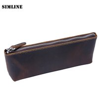 Wholesale Crazy Pens - Wholesale- Vintage Handmade 100% Genuine Crazy Horse Leather Cowhide Men Women Long Zipper Wallet Wallets Coin Purse Pen Pencil Bag Case
