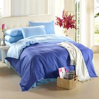 Wholesale Royal Blue Duvet - Royal blue bedding set King size queen quilt doona duvet cover designer double bed sheet bedsheet bedspread linen solid color 100% cotton