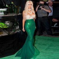 vestidos rhinestones azul verde venda por atacado-2016 Verde Sereia Vestidos de Noite Kim Kardashian Vestido de Renda Até O Chão Frisado Strass Celebridade Vestidos de Noite Vestidos