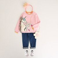Wholesale Little Girls Spring Sweater - Girls Unicorn Pullover Sweater Colorful Tassel White Little Pony Pink Cotton Princess Outdoor Kids Clothing 2-8T