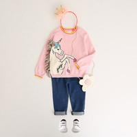 jersey blanco 5t al por mayor-Unicornio suéter de las muchachas suéter de la borla colorida blanco pequeño Pony princesa de algodón rosado de los niños al aire libre 2-8T