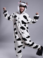 TV & Movie Costumes pajama cartoon movie - 2014 New Winter Cartoon Cute Black Dots Cow Kigurumi Pajama Flannel Pajamas Hooded Conjoined Sleepwear Costume Adult Unisex Onesie Sleepwear