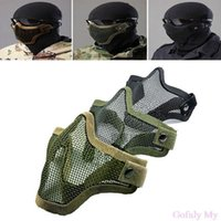 Wholesale Full Metal Airsoft - Hot Half Lower Face Metal Steel Net Mesh Hunting Tactical Protective Airsoft Mask Gofuly