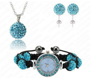 Wholesale Shamballa Necklace Watch - Elegant Shamballa Watch Set Shamballa Bracelet Watch (85Pcs)Crystal Earrings (85Pcs)Crystal Pendant Set Light Gold SHSTG0008
