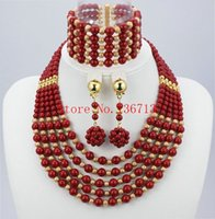 Wholesale Gold Fill Jewelery - 2016 Latest African Wedding Coral Beads Jewelry Set African Nigeria beads jewelery Sets for Free Shipping TT102-9