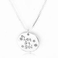 Wholesale girls jewelry online - 2018 stamping Necklace quot Let it go quot Letter charms pendants necklaces Fashion Jewelry Women Gift boy girl zj